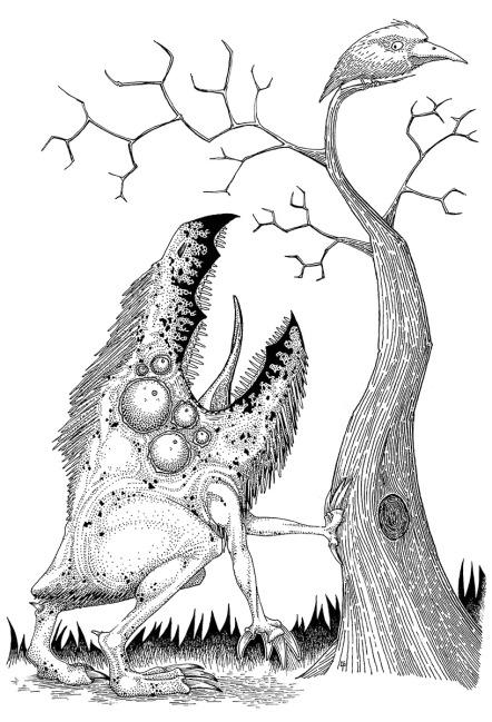 Un animaloïde guettant un oiseau.